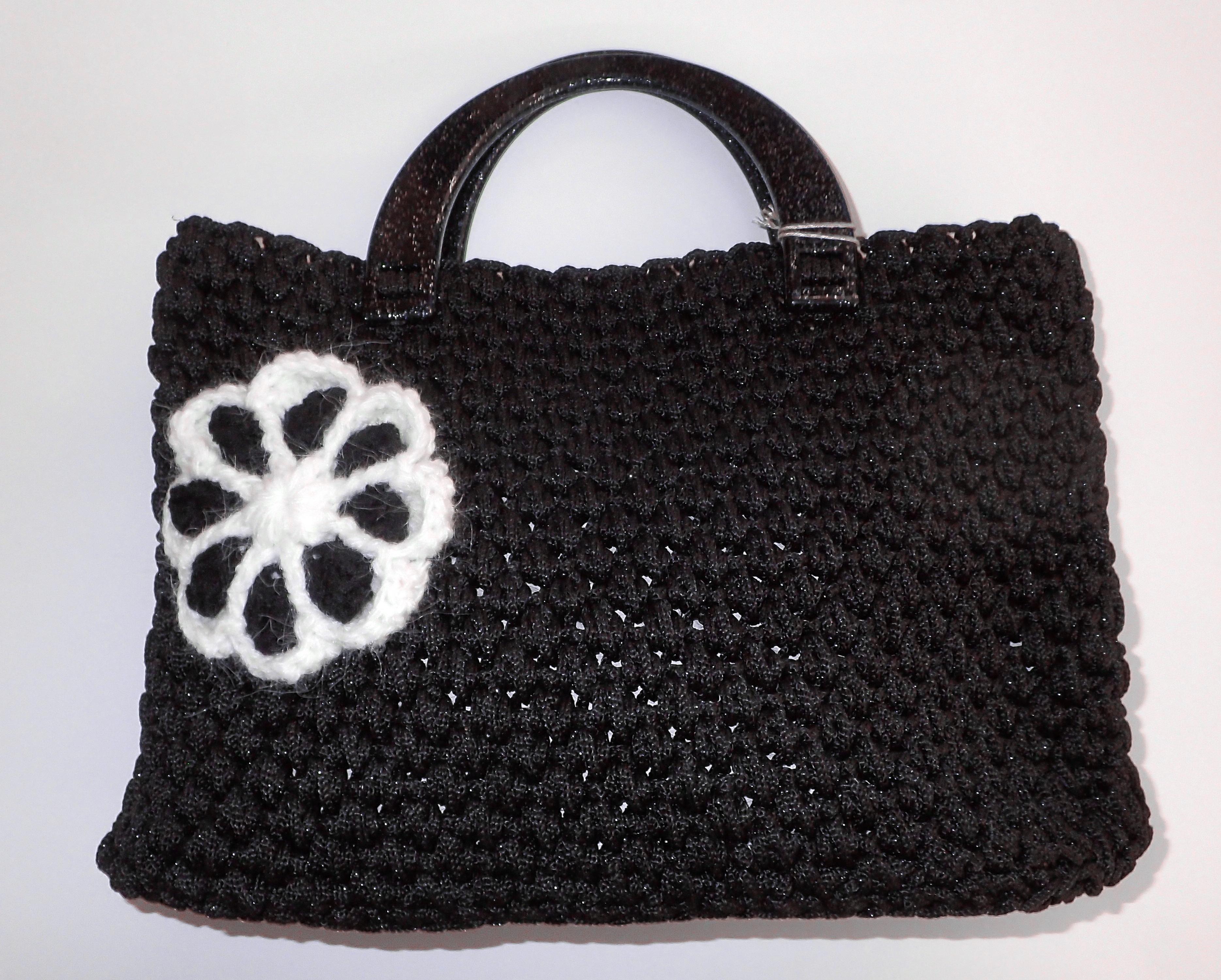 402888a14c Πλεκτή χειροποίητη τσάντα μαύρη Knitted handmade bag black
