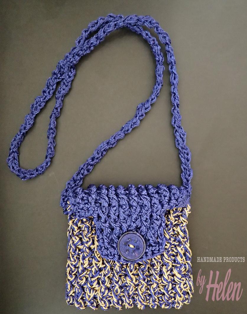 5199d7ab85 Χειροποίητη πλεκτή τσάντα σε xρυσό μπλε Handmade knitted purse in gold blue